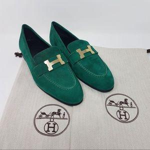 Hermès suede loafers